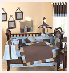 Soho Blue and Brown Theme Baby Bedding 9 piece Crib Set