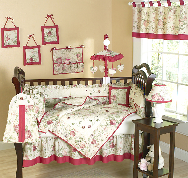 Country Rose Western Cow Baby Nursery Theme 9 Piece Crib Set