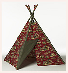 Wild West Tee Pee in Red with Olive Trim